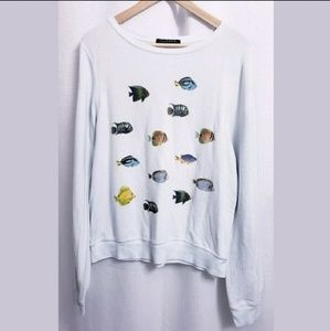 Wildfox Tropical Fish Light Blue Soft Sweater sz M